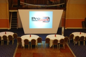 Rear projection with shaped surround